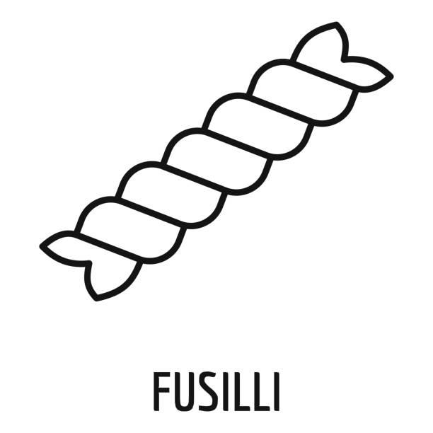 Fusilli pasta icon, outline style Fusilli pasta icon. Outline fusilli pasta vector icon for web design isolated on white background fusilli stock illustrations