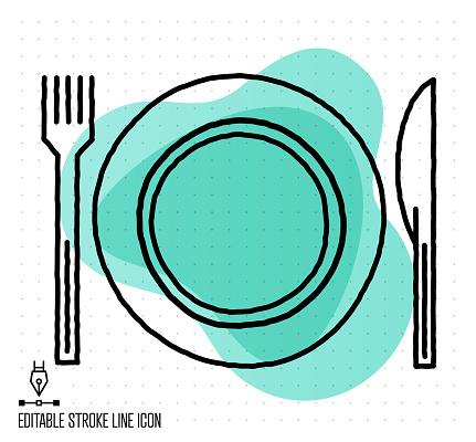 Fusion Restaurant Vector Editable Line Illustration