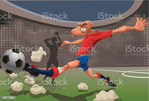 Vector cartoon illustration of a soccer player shooting