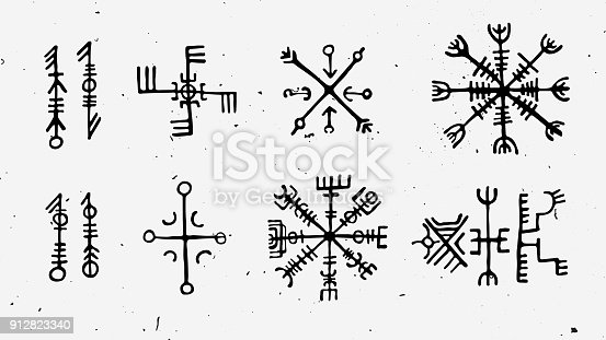 Futhark norse islandic and viking runes set. Magic hand draw symbols as scripted talismans. Vector set of ancient runes of Iceland. Galdrastafir, mystic signs of early North magic. Ethnic norse viking tattoo design with light texture