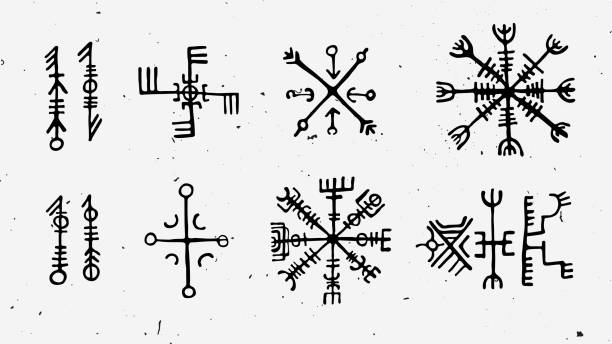 Futhark norse islandic and viking runes set. Magic hand draw symbols as scripted talismans. Vector set of ancient runes of Iceland. Galdrastafir, mystic signs of early North magic. Ethnic norse viking tattoo design. Futhark norse islandic and viking runes set. Magic hand draw symbols as scripted talismans. Vector set of ancient runes of Iceland. Galdrastafir, mystic signs of early North magic. Ethnic norse viking tattoo design with light texture ancient stock illustrations