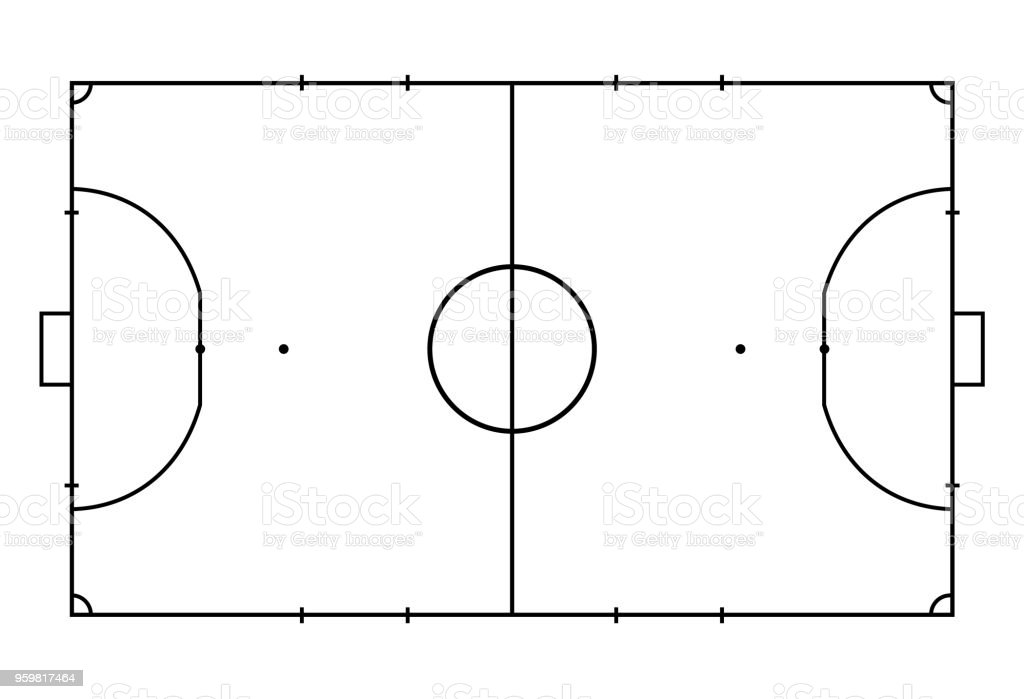 Futsal court or field. Sport background. Line art style - Illustration . bacab3ea3822c