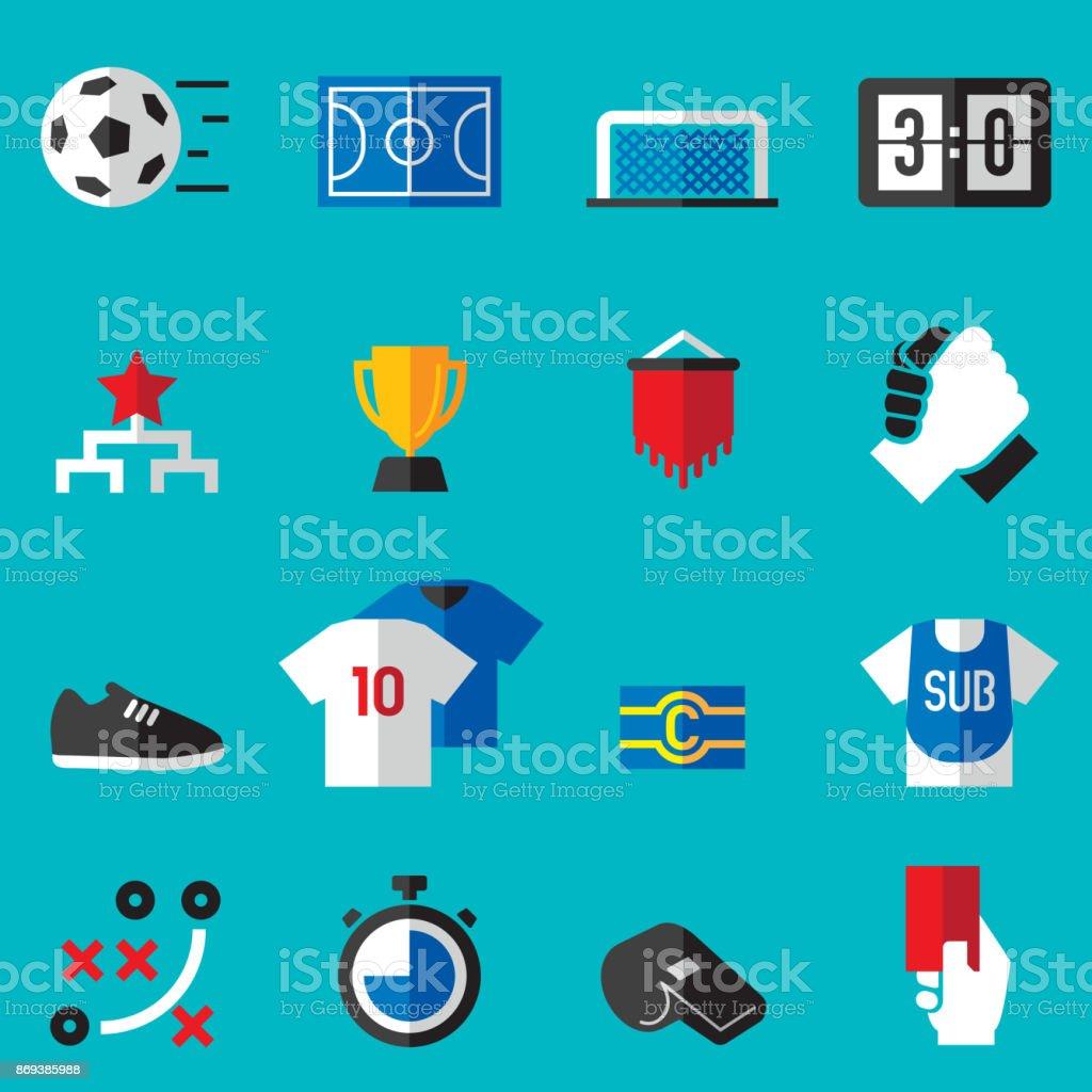 Futsal-Wohnung Icons – Vektorgrafik