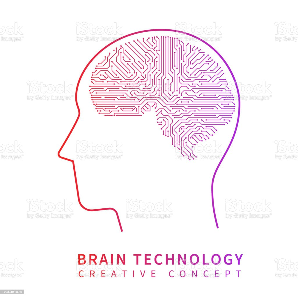 Future artificial intelligence technology. Mechanical brain creative idea vector concept vector art illustration