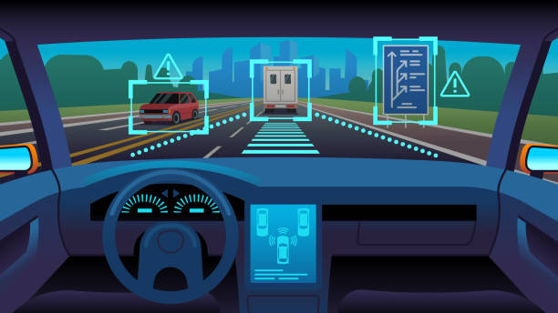 ilustraciones, imágenes clip art, dibujos animados e iconos de stock de futuro vehículo autónomo. coche sin conductor futurista interior del sensor de piloto automático autónomo de la carretera gps, concepto de vector de dibujos animados - vehículos sin conductor