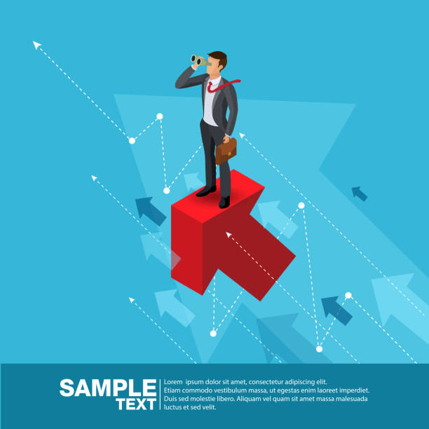 Future Business Leader Concept Finance Manager Business Man.Flat Isometric People Executive Manager Vector Investor trader Business future vision Individual success vector art illustration