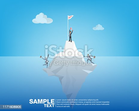 Future Business Leader Concept vector the man stand on iceberg.Flat Isometric People Executive Manager Vector Investor trader Business future vision Individual success