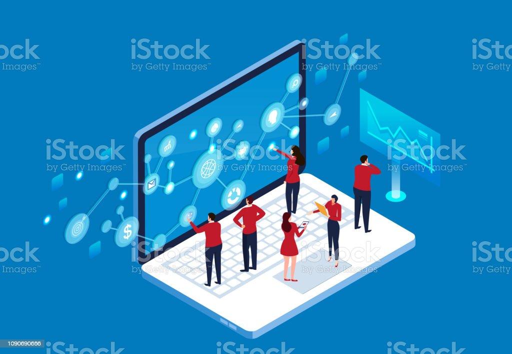 Future Business Technology Network vector art illustration