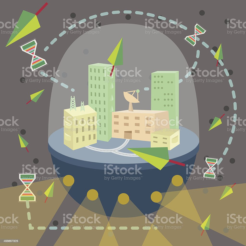 Future City Communication Worldwide connect Short Time royalty-free stock vector art