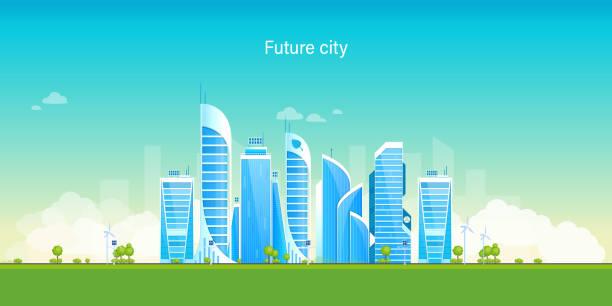 ilustrações de stock, clip art, desenhos animados e ícones de future city. eco-friendly, smart, modern city. landscape, high-rise buildings - smart city
