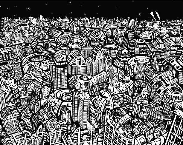 将来の街 iv - 漫画の風景点のイラスト素材/クリップアート素材/マンガ素材/アイコン素材