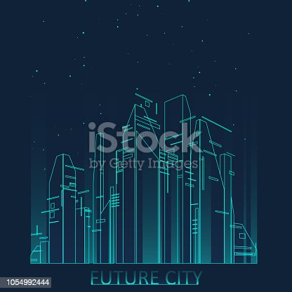 istock Future city skyline illustration 1054992444
