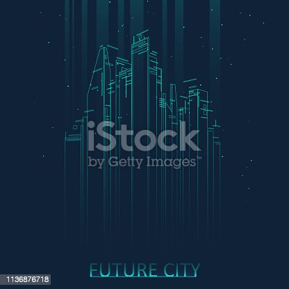 Future city skyline illustration. Graphic concept for your design, linear style.