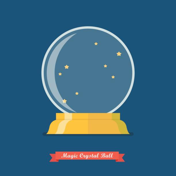 Future crystal ball vector art illustration
