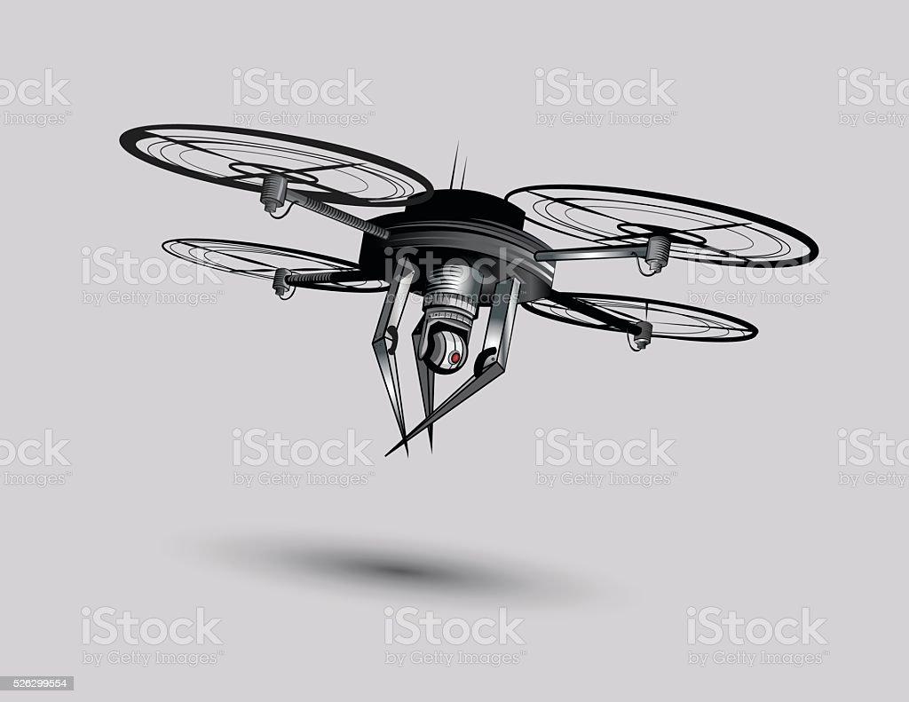 Future Drone Warfare vector art illustration