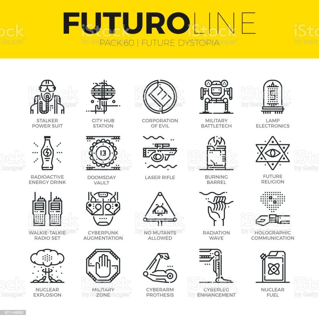 Future Dystopia Futuro Line Icons vector art illustration