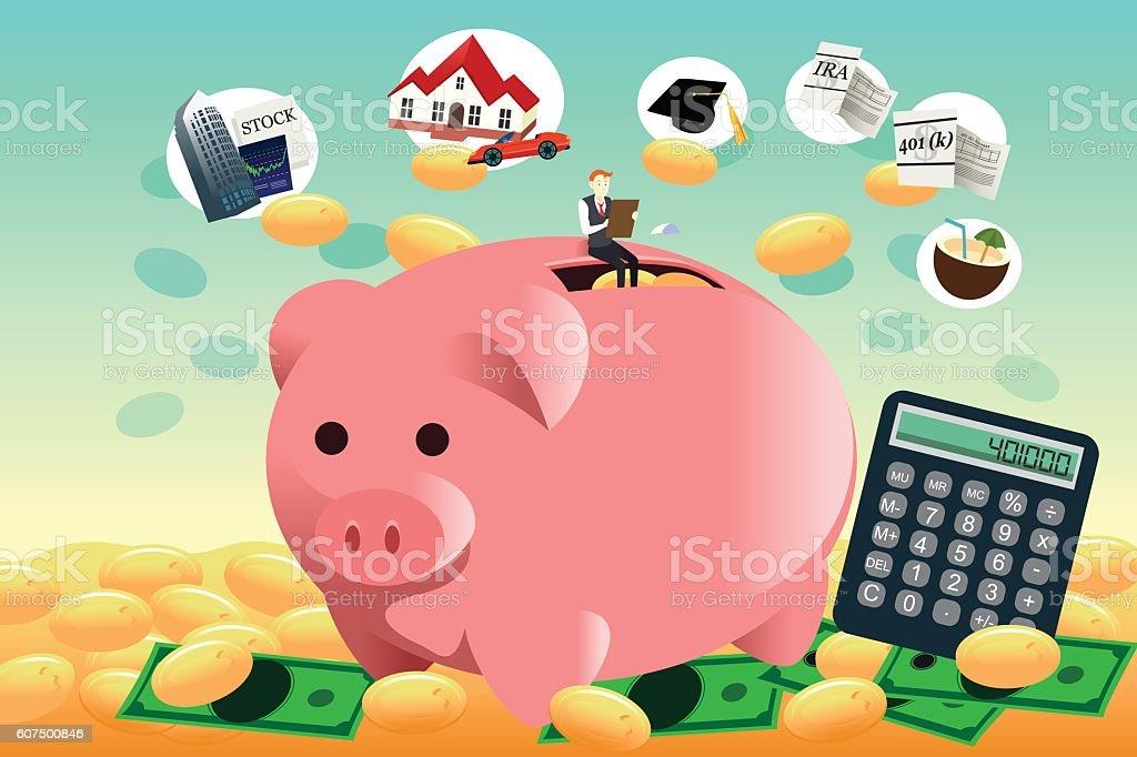 Future financial planning concept vector art illustration