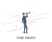 Abstract and symbolic presentation. Future forecasting, business man holding telescope. Outline vector illustration.