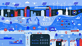 Flat vibrant vector illustration showing more connected world using 5G wireless technology in different fields: clean green energy, smart city, smart industry, smart transport, smart agriculture using drones and smart home segment.