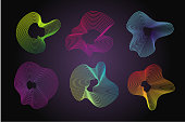 Future morphing lines. Abstract vector backgrounds set with guilloche. Covers and posters templates.