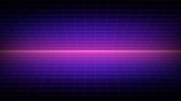 Zukünftige Retro-Linie Hintergrund der 80er Jahre. Vektor futuristische Synth Retro-Welle-Illustration in den 1980er Jahren Poster Stil – Vektorgrafik