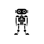 Future robot black icon, vector sign on isolated background. Future robot concept symbol, illustration