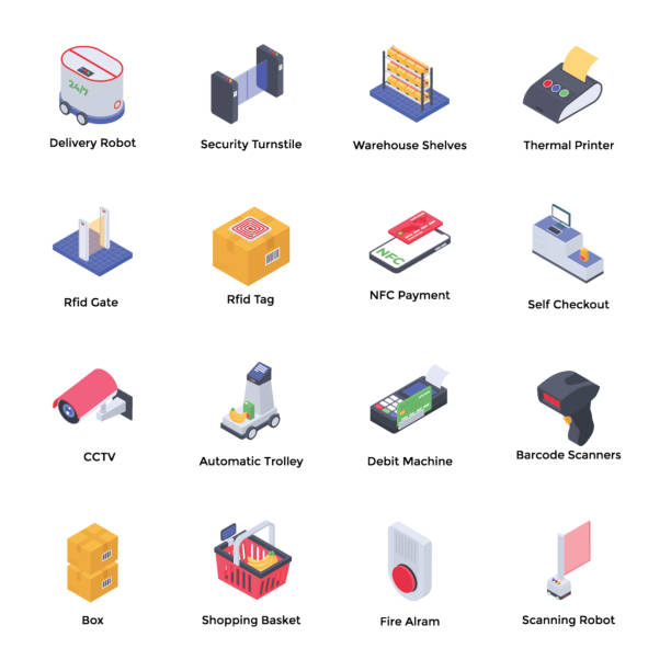 Future Supermarket Isometric Vectors Pack Future supermarket isometric icons pack is here for your ease. Editable vectors are easy to use. Grab it now! radio frequency identification stock illustrations