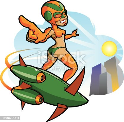 Adobe Illustrator cartoon of a girl on a flying surf board. Background is removable. Download includes AI CS2 EPS, as well as 9.3˝x9.3˝ high res RGB JPG file.