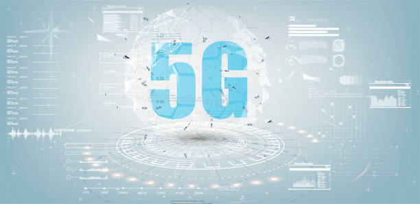 Future Technology Display Design. 5g Internet Connection Speed Sign Over Futuristic Low Poly Mesh Wireframe vector art illustration