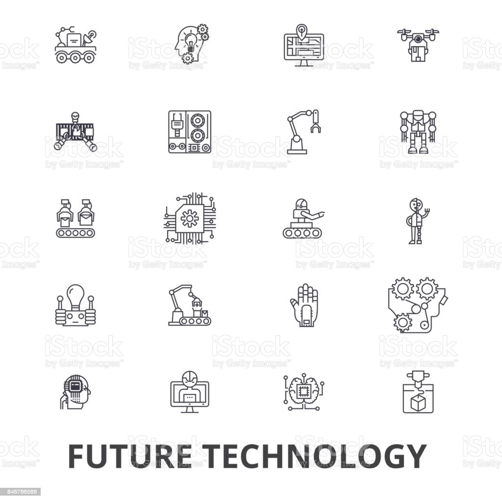 Future technology, future vision, futuristic, business, robot, cyborg, control line icons. Editable strokes. Flat design vector illustration symbol concept. Linear signs isolated vector art illustration