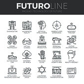 Modern thin line icons set of future technology and artificial intelligent robots. Premium quality outline symbol collection. Simple mono linear pictogram pack. Stroke vector symbol concept for web graphics.