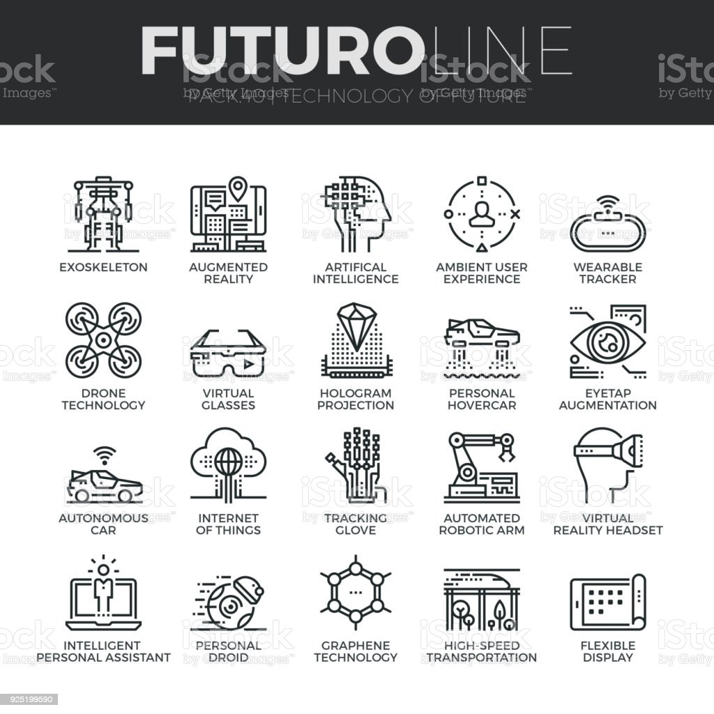 Future Technology Futuro Line Icons Set vector art illustration