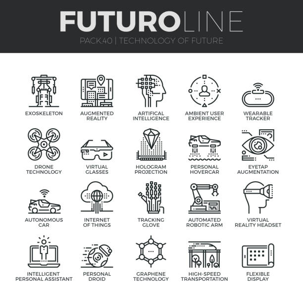 Future Technology Futuro Line Icons Set Modern thin line icons set of future technology and artificial intelligent robots. Premium quality outline symbol collection. Simple mono linear pictogram pack. Stroke vector symbol concept for web graphics. vr stock illustrations