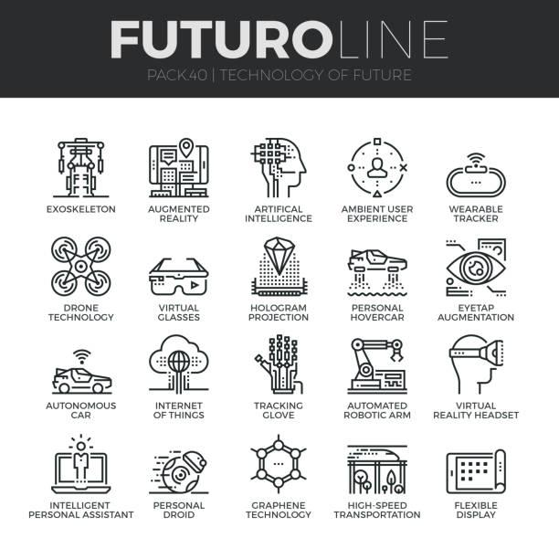 미래 기술 futuro 라인 아이콘 설정 - 기차 실루엣 stock illustrations