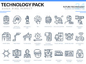 Future Technology Icons Set. Technology outline icons pack. Pixel perfect thin line vector icons for web design and website application.