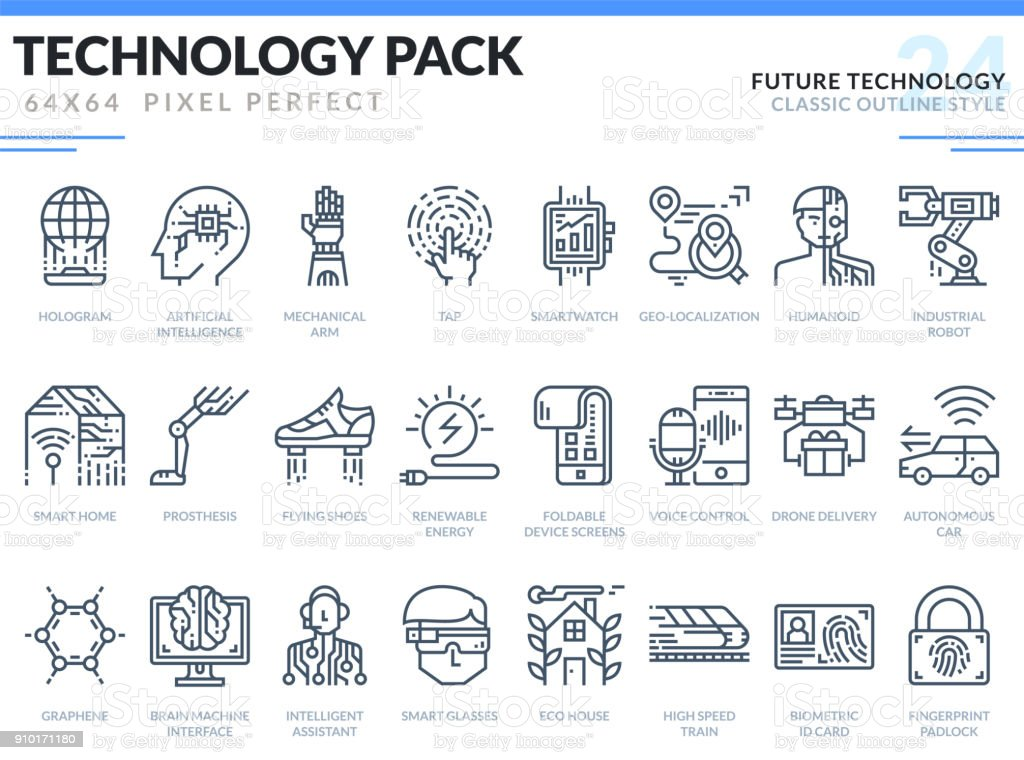 Future Technology Icons Set. Technology outline icons pack. Pixel perfect thin line vector icons for web design and website application. vector art illustration