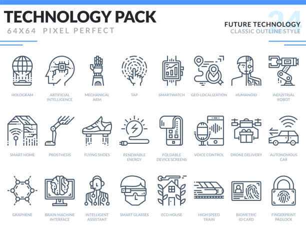 future technology icons set. technology outline icons pack. pixel perfect thin line vector icons for web design and website application. - robotics stock illustrations, clip art, cartoons, & icons