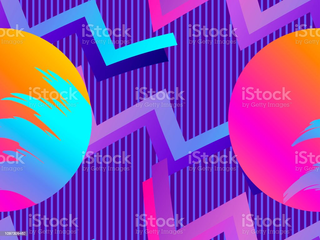 Futurism Seamless Pattern Liquid Shape In The Style Of 80s Synthwave