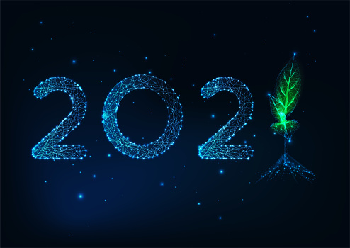 Futuristic 2021 Happy New Year greeting card template with low polygonal numbers and green sprout