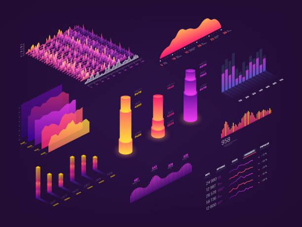 illustrations, cliparts, dessins animés et icônes de futuriste 3d graphique de données isométriques, cartes d'affaires, diagramme statistique et infographie vectorielle des éléments - diagrammes