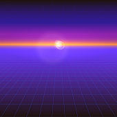 Futuristic abstract background with the sun on the horizon. Sci fi violet retro gradient, vintage style of the 80s. Digital cyber world, virtual surface with neon grids. Vector for design of layout