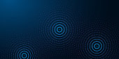 istock Futuristic abstract banner with abstract water rings, ripples on dark blue background. 1249267822