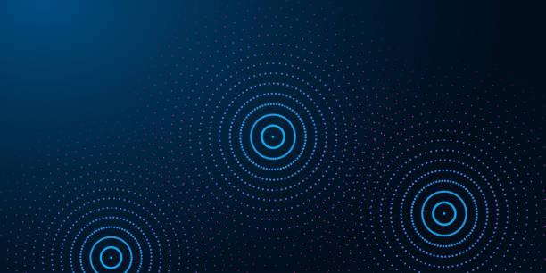 illustrazioni stock, clip art, cartoni animati e icone di tendenza di futuristico stendardo astratto con anelli d'acqua astratti, increspature su sfondo blu scuro. - technology