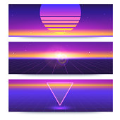 Futuristic abstract banners with the sun on the horizon. Sci fi violet retro gradient, vintage style of the 80s. Digital cyber world, virtual surface with light. 3D illustration for design of layout