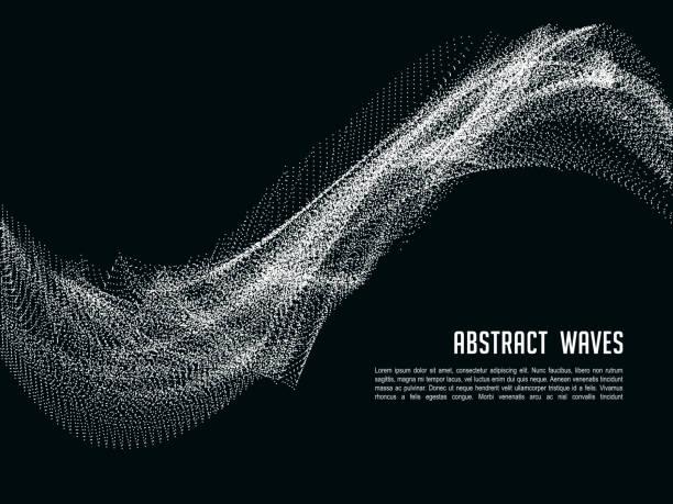 futuristischer abstrakter vektorhintergrund mit 3d beleuchteter klangwelle. banner und plakat mit farbwellenstruktur illustration - schütteln stock-grafiken, -clipart, -cartoons und -symbole