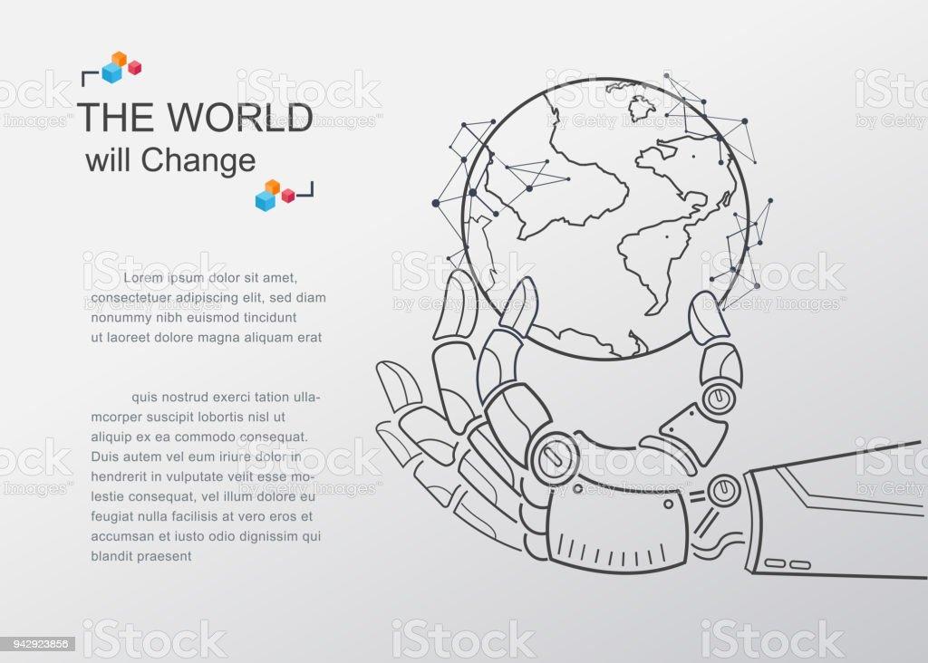 Futurista android mano terráqueo digital virtual. tecnología de inteligencia artificial va a cambiar el mundo. Diseño de esquema de vector concepto de cartel y presentación. - ilustración de arte vectorial