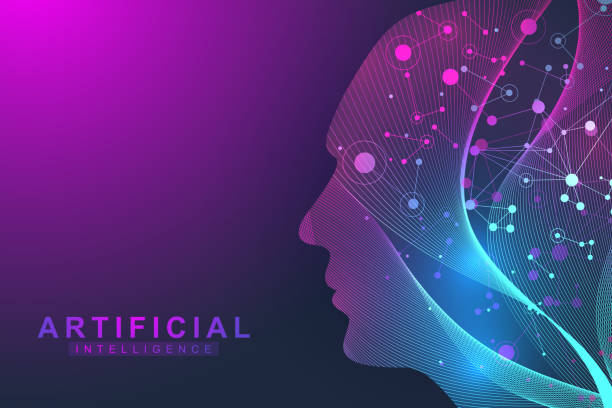 futuristic artificial intelligence and machine learning concept.. human big data visualization. wave flow communication, scientific vector illustration - artificial intelligence stock illustrations, clip art, cartoons, & icons