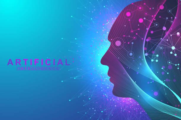 Futuristische künstliche Intelligenz und maschinelles Lernen Konzept... Menschlichen Big Data-Visualisierung. Wave Flow Kommunikation, wissenschaftliche Vektor-illustration – Vektorgrafik