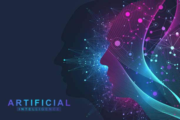 Futuristische künstliche Intelligenz und maschinelles Lernen Konzept. Menschlichen Big Data-Visualisierung. Wave Flow Kommunikation, wissenschaftliche Vektor-Illustration. – Vektorgrafik