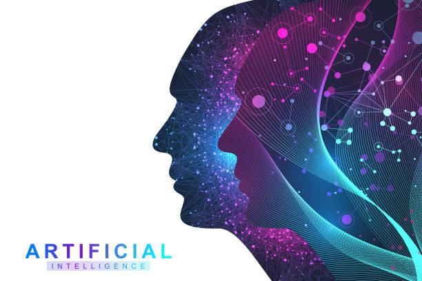 Futuristische Künstliche Intelligenz und maschinelles Lernkonzept. Human Big Data Visualisierung. Wellenflusskommunikation, wissenschaftliche Vektorabbildung. – Vektorgrafik